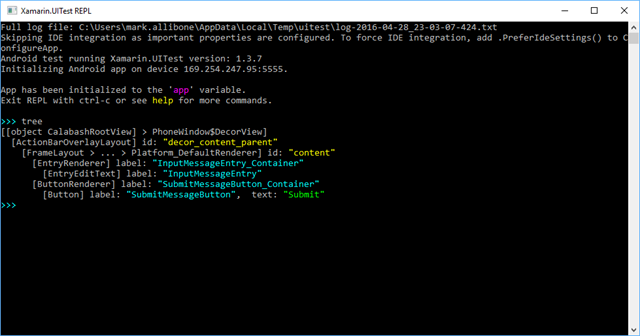 XTC Repl showing Ids after executing the tree command
