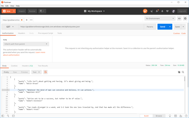Sample get request with Postman