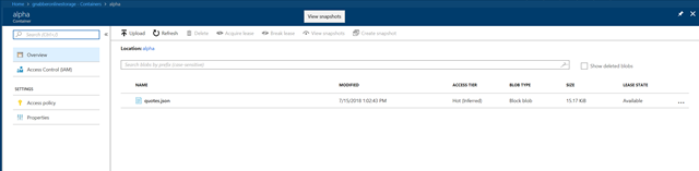 Showing Blobstorage Container with one JSON File