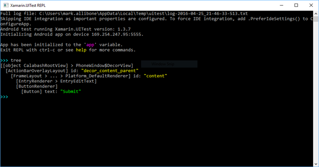 Shows the XTC Repl tree command when a UI has no Ids set.