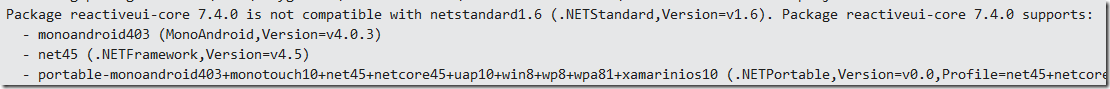 Error message that .Net Standard library is not among the supported .Net Frameworks of this NuGet package