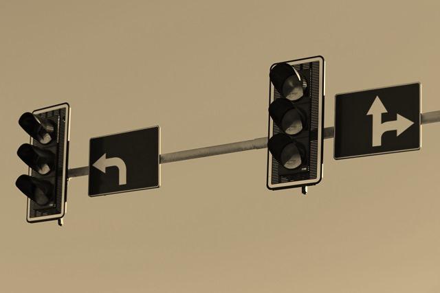 Traffic lights at the crossroads