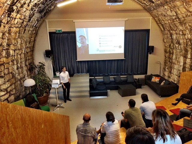 Image of my talk at our great location at the impact hub.
